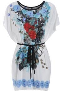 Blue Batwing Sleeve Floral Tie-waist Dress