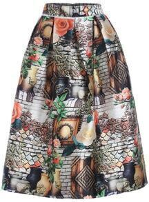 Multicolor Vase Print Flare Skirt