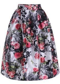 White Branch Rose Print Flare Skirt