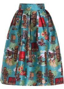 Green Coconut Tree Print Flare Skirt