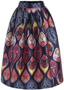 Navy Floral Flare Long Skirt