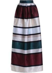 Multicolor High Waist Striped Long Skirt