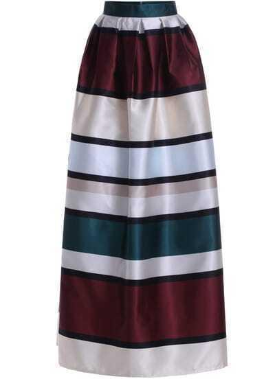 Multicolor High Waist Striped Long Skirt
