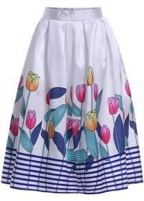 White Tulips Print Striped Flare Skirt
