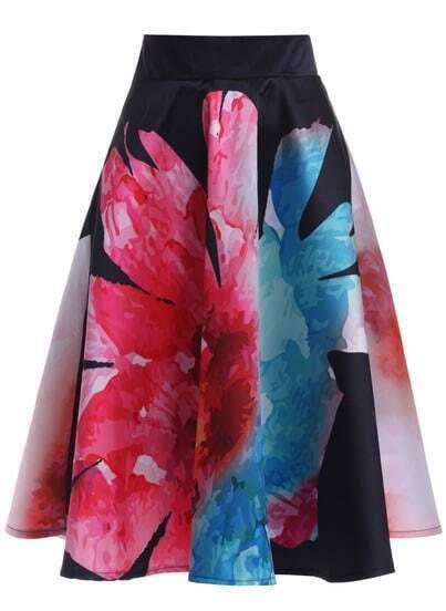Black Sunflower Print Flare Skirt