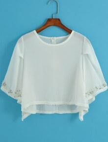 White Round Neck Bead Chiffon Crop Blouse
