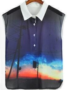 Purple Lapel Sleeveless Sky Print Blouse