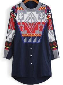 Navy Long Sleeve Geometric Pattern Blouse