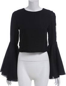 Black Round Neck Bell Sleeve Crop Blouse