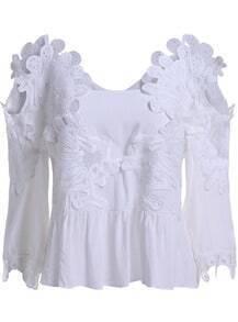 White Off the Shoulder Floral Crochet Blouse
