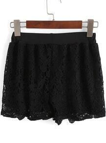 Black Embroidered Lace Shorts