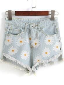 Light Blue Daisy Print Fringe Denim Shorts