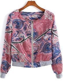 Red Long Sleeve Floral Zipper Crop Coat