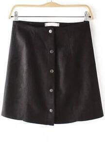 Black Buttons A Line Skirt