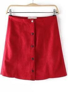 Red Buttons A Line Skirt