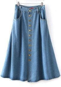 Blue Buttons Vintage Denim Skirt