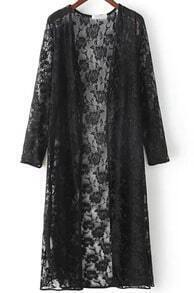 Black Long Sleeve Sheer Lace Kimono