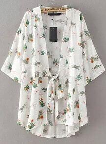 White Tie-waist Floral Loose Kimono