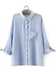 Blue Lapel Knotted Pocket Loose Blouse
