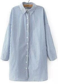 Blue Lapel Long Sleeve Vertical Stripe Blouse