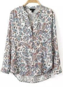 White V Neck Long Sleeve Cashew Print Blouse