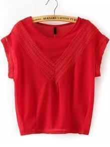 Red Round Neck V Type Lace Loose Blouse