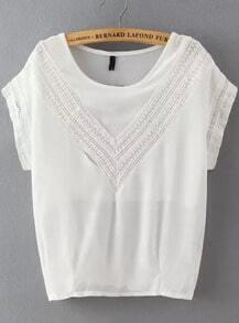 White Round Neck V Type Lace Loose Blouse