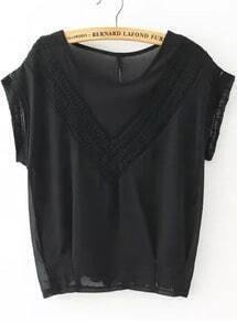 Black Round Neck V Type Lace Loose Blouse