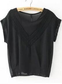 Black Round Neck V Type Lace Loose Blouse