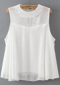 White Round Neck Sleeveless Loose Chiffon Blouse