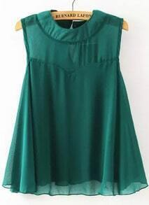 Green Round Neck Sleeveless Loose Chiffon Blouse