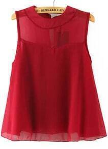 Red Round Neck Sleeveless Loose Chiffon Blouse