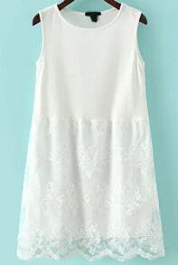 White Round Neck Sleeveless Lace Dress