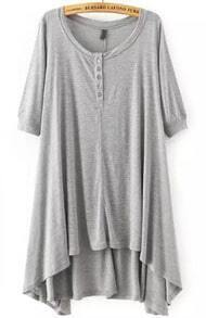 Grey Foam Short Sleeve Buttons High Low Dress