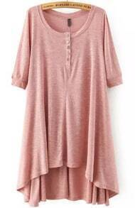 Pink Short Sleeve Buttons High Low Dress