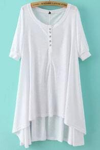 White Short Sleeve Buttons High Low Dress
