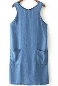 Blue Round Neck Pockets Straight Denim Dress