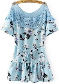Blue Short Sleeve Grid Floral Ruffle Dress