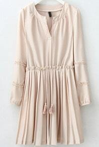 Apricot V Neck Puff Sleeve Pleated Dress