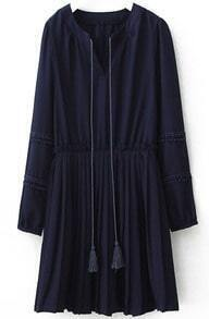 Navy V Neck Puff Sleeve Pleated Dress