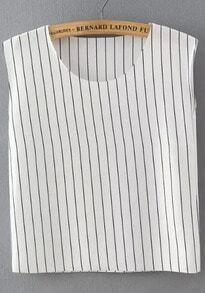 White Round Neck Vertical Stripe Tank Top