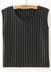 Black Round Neck Vertical Stripe Tank Top