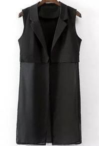 Black Notch Lapel Sleeveless Chiffon Vest
