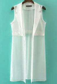 White Notch Lapel Sleeveless Chiffon Vest
