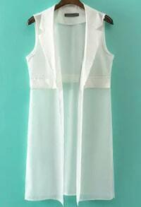 White Notch Lapel Sleeveless Chiffon Vest