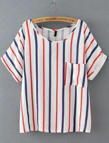 Red Blue Vertical Stripe Pockets T-Shirt