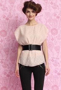 Pink Black Round Neck Polka Dot Belt Blouse