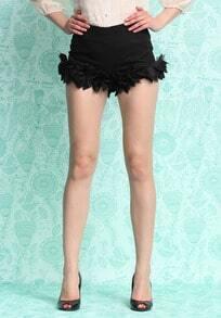 Black Ruffle Slim Shorts