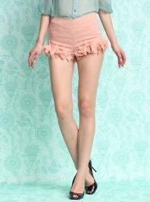 Pink Ruffle Slim Shorts