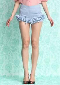 Blue Ruffle Slim Shorts